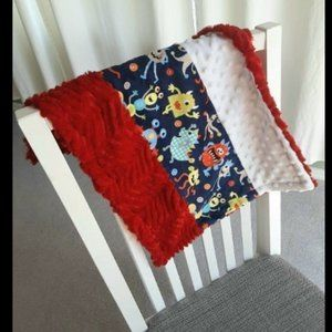 Minky Lovey Baby Security Blanket with Silly Monsters, Red and White